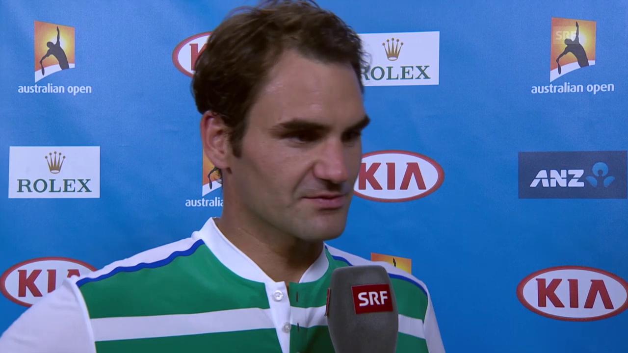 Roger Federers Interview nach dem Sieg gegen Nikoloz Basilaschwili
