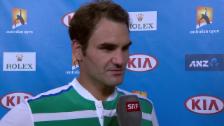 Video «Roger Federers Interview nach dem Sieg gegen Nikoloz Basilaschwili» abspielen