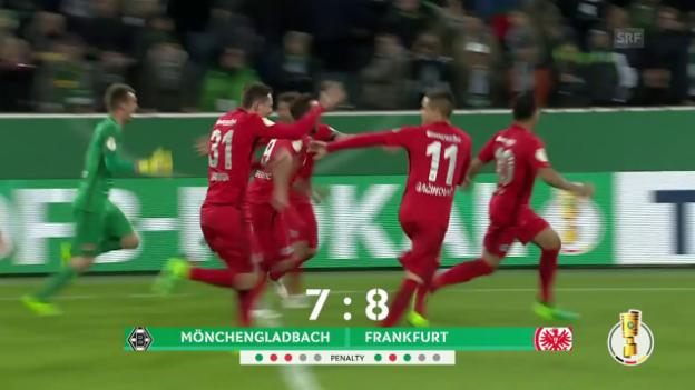Video «Frankfurt gewinnt Penaltykrimi gegen Mönchengladbach» abspielen