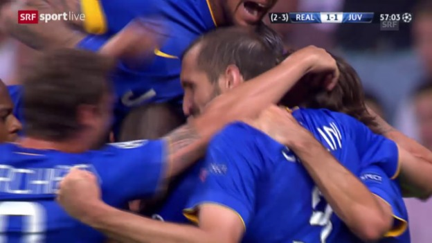 Video «Fussball: Champions League 2015, Halbfinal Real Madrid – Juventus, 1:1 Alvaro Morata» abspielen