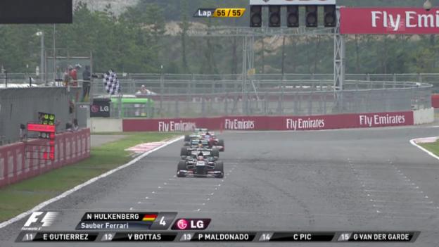 Video «Formel 1: Duell Hülkenberg-Hamilton und Schlussphase» abspielen