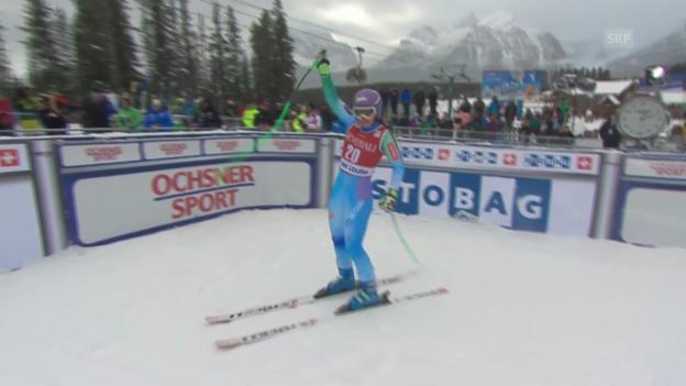Video «Ski Alpin: Weltcup-Abfahrt in Lake Louise, Fahrt von Tina Maze» abspielen
