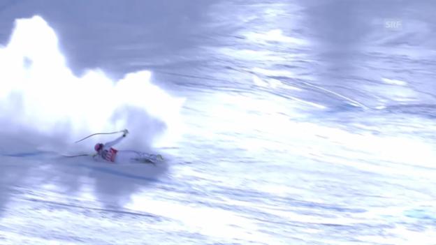 Video «Lindsey Vonn stürzt auf der Abfahrt in La Thuile» abspielen