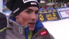 Video «Daniel Yule nach dem Adelboden-Slalom: «Alle reden von Podest, aber so einfach ist das nicht»» abspielen