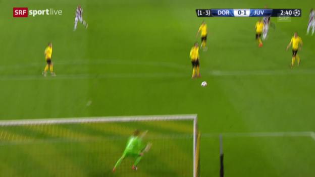 Video «Fussball: Champions League, Achtelfinal, Dortmund – Juventus, 0:1 durch Carlos Tevez» abspielen