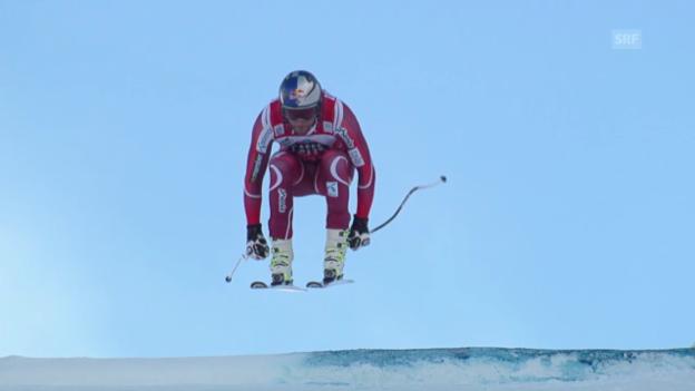 Video «Ski: Svindal stellt am Lauberhorn klare Bestzeit auf» abspielen