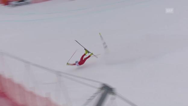 Video «Ski: Abfahrtstraining Garmisch, Sturz Merighetti» abspielen