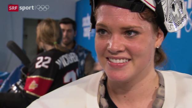Video «Eishockey: Frauen, Kanada-Schweiz, Interview Florence Schelling («sotschi aktuell», 8.2.2014)» abspielen
