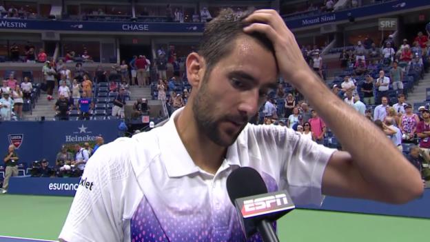 Video «Tennis: US Open 2015, Männer-Viertelfinal, Marin Cilic - Jo-Wilfried Tsonga» abspielen
