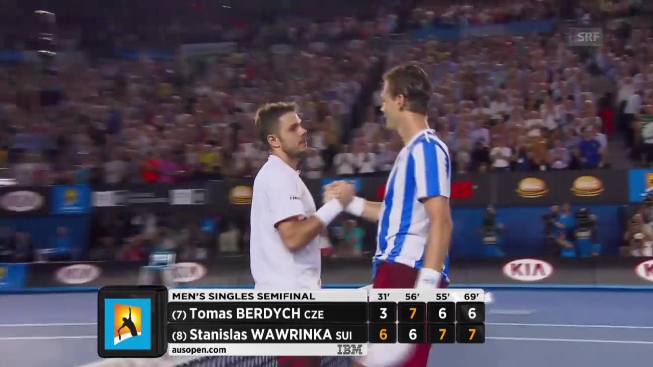 Tennis: Australian Open, Wawrinka - Berdych, Wichtigste Ballwechsel