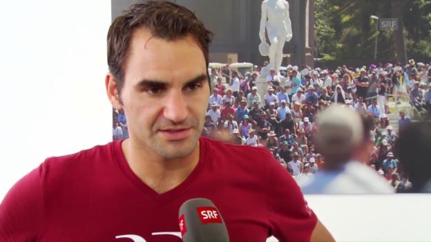 Video «Federer im Interview nach dem Out gegen Thiem» abspielen