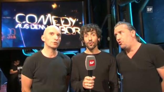 Video «Heinz de Specht stimmen sich auf ihren Auftritt bei Comedy aus dem Labor ein.» abspielen
