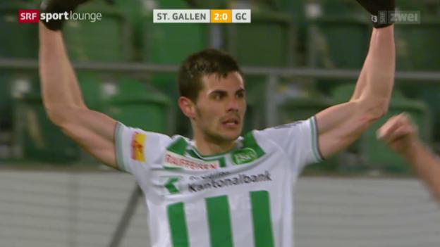Video «St. Gallen besiegt GC trotz Unterzahl» abspielen