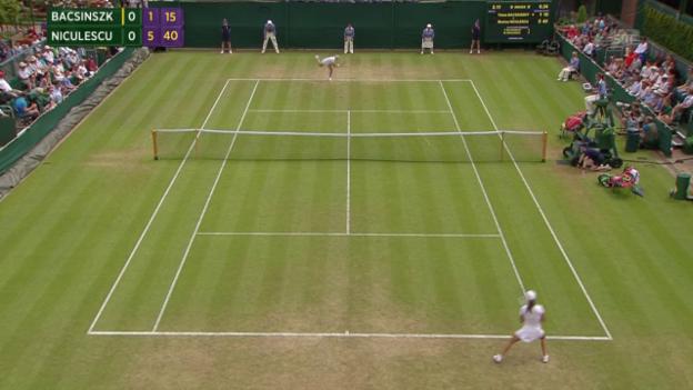 Video «Tennis: Wimbledon, Achtelfinal, Bacsinszky-Niculescu, Satzball Niculescu» abspielen