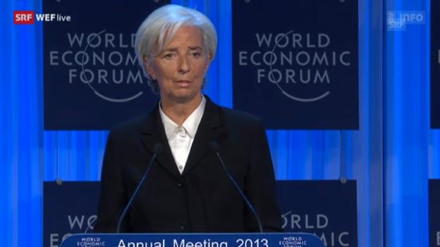 Video «Christine Lagarde über die Jugendarbeitslosigkeit und die Bedeutung der Frauen für die Wirtschaft» abspielen