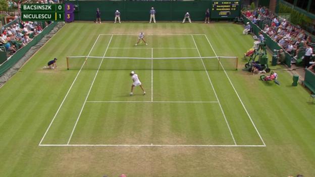 Video «Tennis: Wimbledon, Bacsinszky - Niculescu, Netz-Duell» abspielen