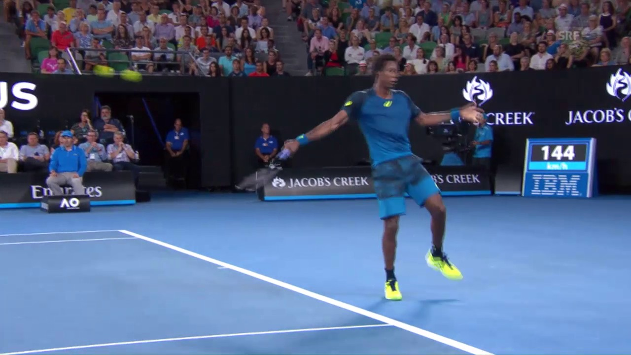 So überrascht man Nadal: Monfils' No-Look-Stopp-Ball