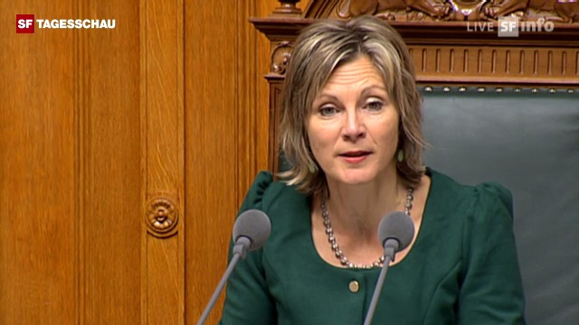 NR-Präsidentin Graf verkündet Burkhalters Wahlergebnis