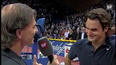 Schon in Basel sorgte Federer im Jahr 2007 mit einem Lachanfall für Furore.