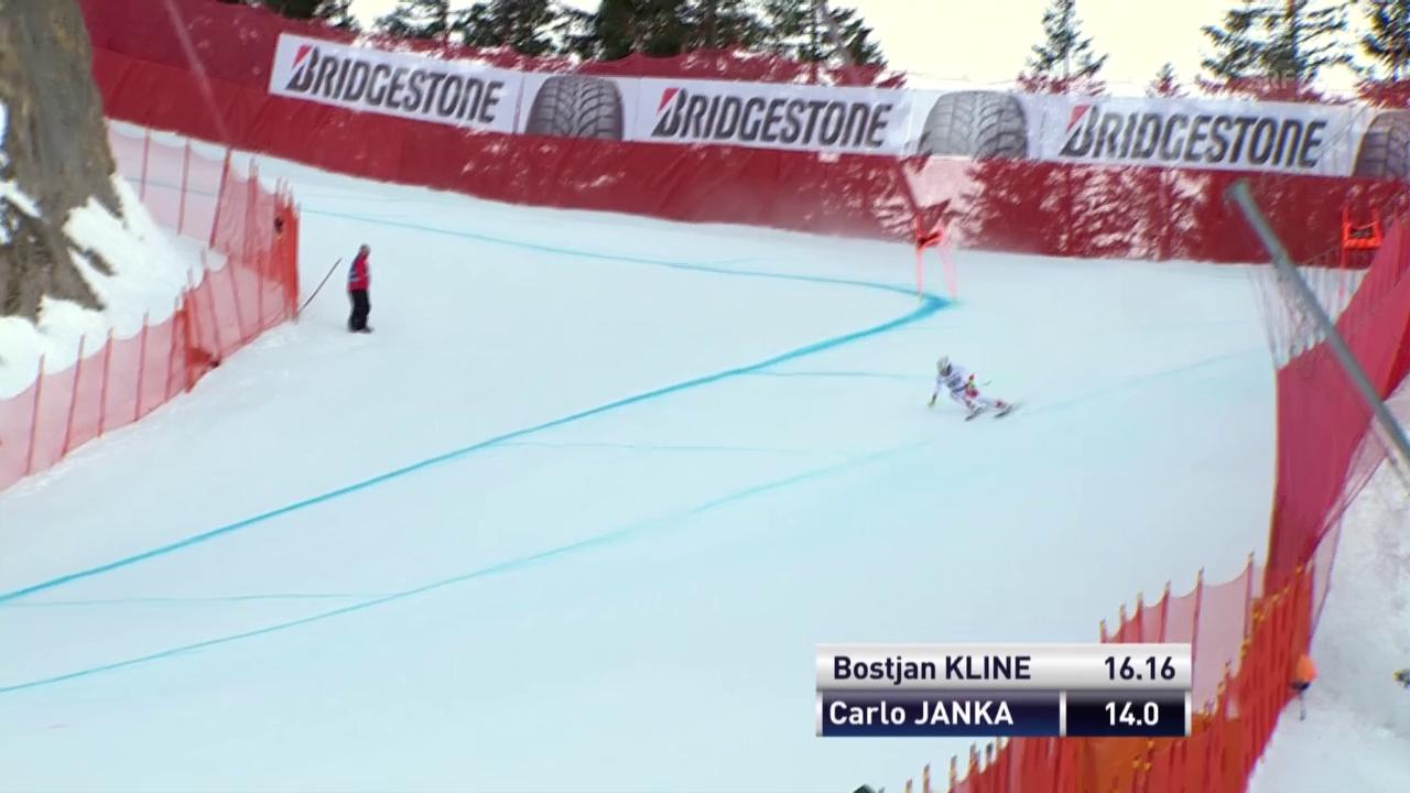 Carlo Janka wird von der Ideallinie weggetrieben und kann sich nur mit Mühe im Rennen halten
