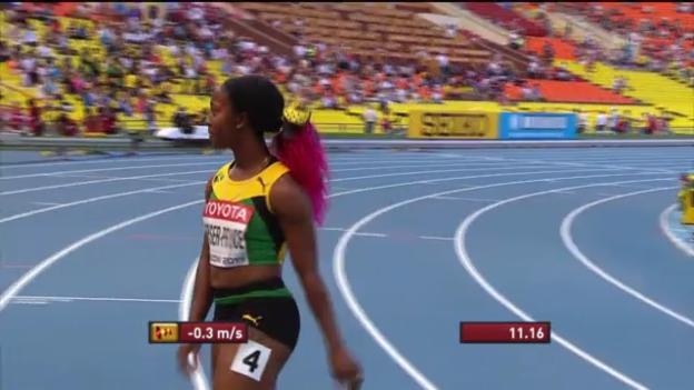 Video «100-m-Vorlauf von Shelly-Ann Fraser-Pryce» abspielen