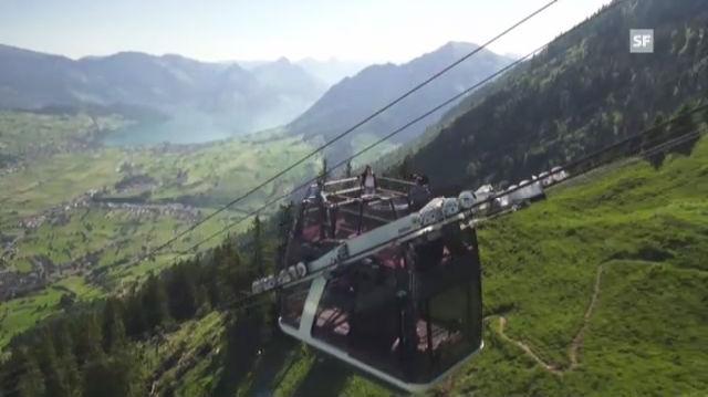 Neueste Schweizer Seilbahn-Innovation: Die Cabrio-Bahn