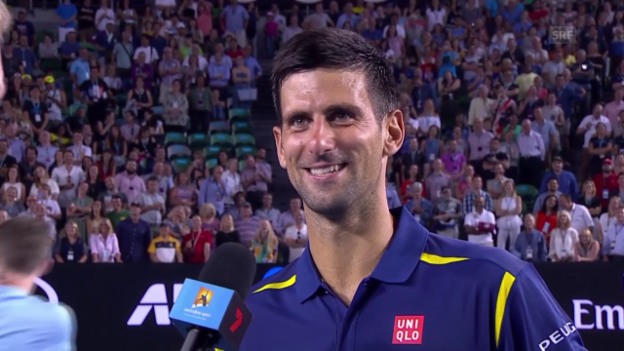 Video «Novak Djokovic im Platzinterview: «Mein Sohn nennt mich Mama»» abspielen