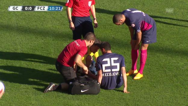 Video «Fussball: Kecojevic verletzt sich gegen GC» abspielen
