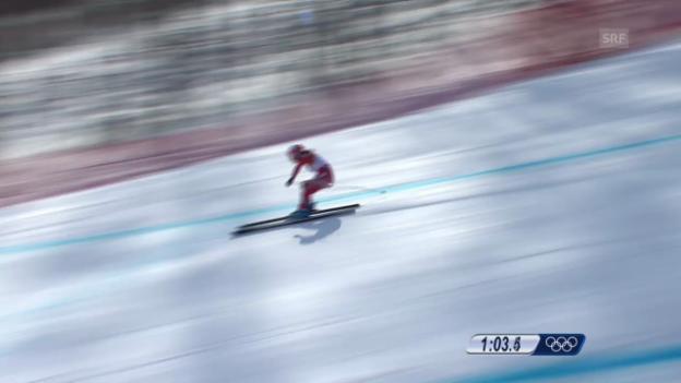 Video «Ski: Kombi-Abfahrt Frauen, Fahrt Dominique Gisin (sotschi direkt, 10.02.2014)» abspielen