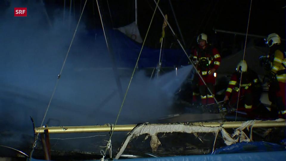 Grossbrand im Jachthafen von Lachen (SZ)