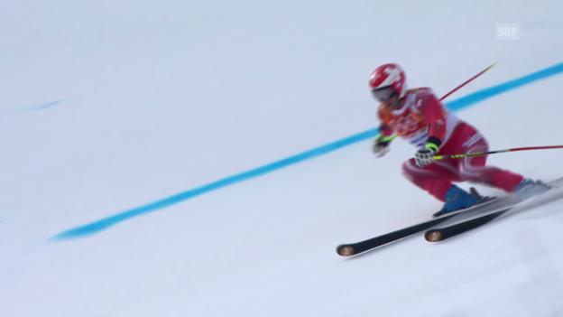 Video «Ski: Riesenslalom Männer Sotschi, 1. Lauf von Didier Défago (sotschi direkt, 19.2.14)» abspielen