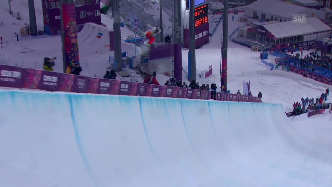 Ski Freestyle: Qualifikation Halfpipe, der 1. Run von Nils Lauper (sotschi direkt, 18.02.2014)