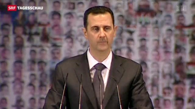 Assad spricht vor Anhängern in Damaskus.