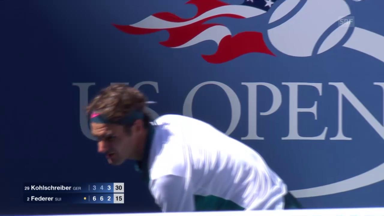 Tennis: US Open, Federer-Kohlschreiber, Highlight Satz 3