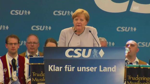 Video «Merkel ruft Europäer zu mehr Eigenständigkeit auf» abspielen