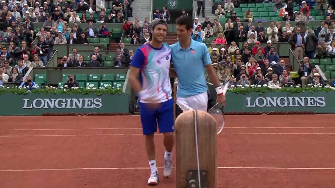 Tennis: French Open, 1. Runde, Schlussphase Djokovic - Sousa