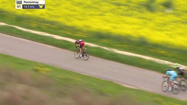 Video «Rad: Tour de Romandie, 3. Etappe, Angriff von Danilo Wyss» abspielen
