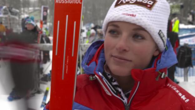 Video «Ski alpin: Weltcup in Lake Louise, Abfahrt, Lara Gut im Interview» abspielen