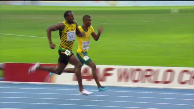 Video «200 m: Halbfinal mit Usain Bolt» abspielen