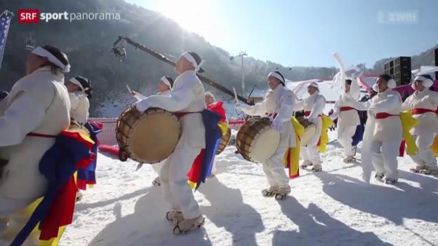 Video «Die Schweizer Ski-Cracks entdecken die Olympia-Piste» abspielen