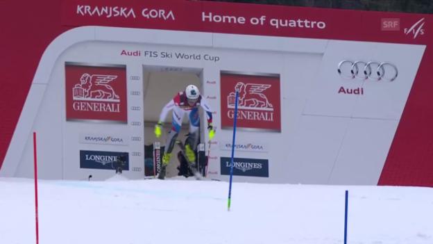 Video «Ski: Weltcup-Slalom in Kranjska Gora, Daniel Yule 2. Lauf» abspielen