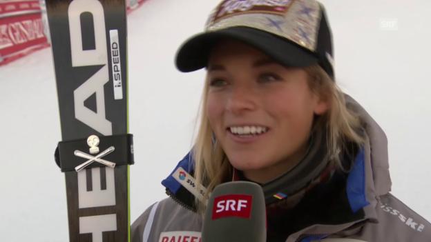Video «Ski: Riesenslalom Courchevel, Interview mit lara Gut» abspielen