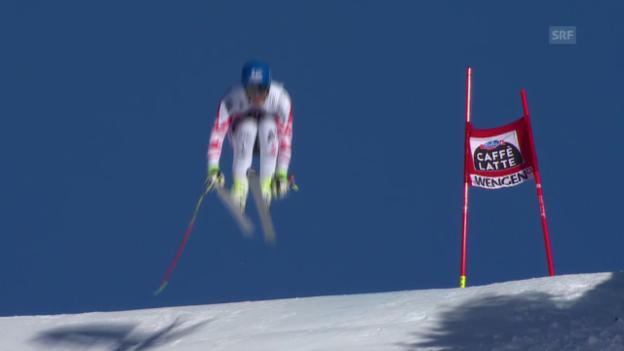 Video «Ski: Matthias Mayers 1. Trainingsfahrt in Wengen» abspielen