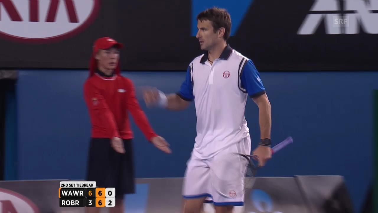 Tennis: Australian Open 2014, Achtelfinal, Wawrinka-Robredo, schöner Punkt Robredo