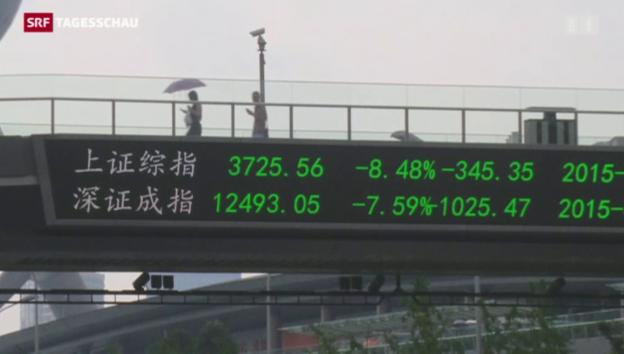 Video «Chinas Börse stürzt weiter» abspielen