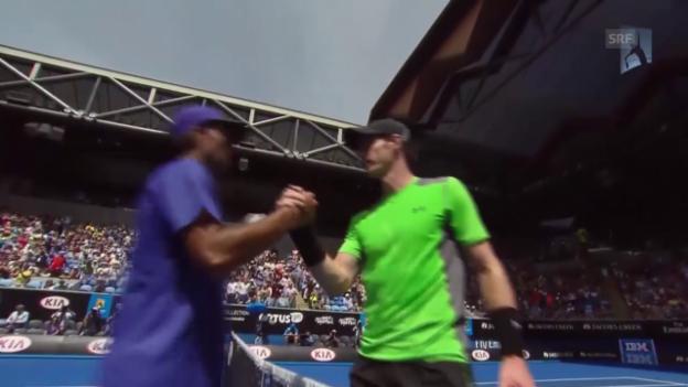 Video «Tennis: Australian Open 2015, Matchball Murray - Bhambri (Quelle: SNTV)» abspielen