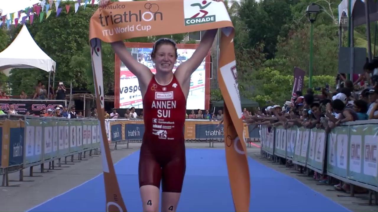 Triathletin Jolanda Annen triumphiert in Mexiko (EVS)