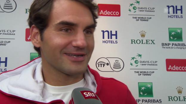 Video «Tennis: Daviscup, Schweiz-Kasachstan, Interview Federer nach Doppel» abspielen