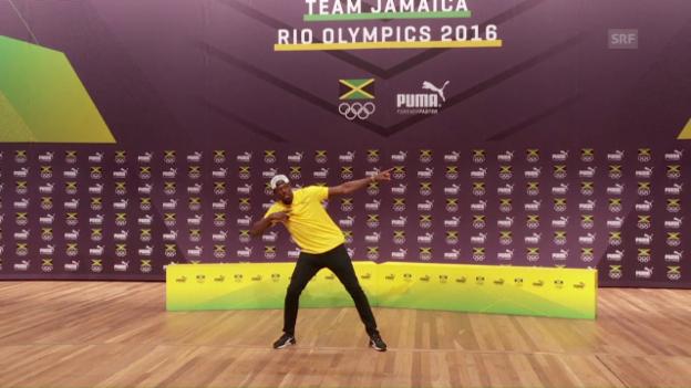 Video «Grosse Show: Die Medienkonferenz von Usain Bolt» abspielen