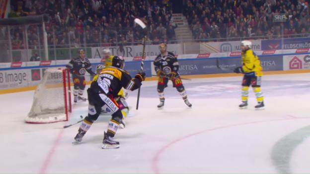 Video «Die Live-Highlights des 1. Playoff-Finalspiels zwischen Lugano und Bern» abspielen
